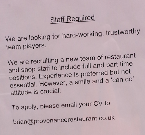 Provenance Restaurant job advert