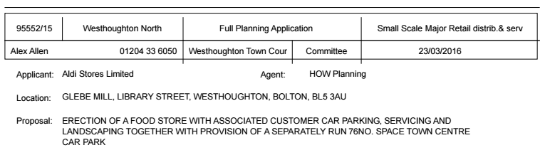 Aldi planning application