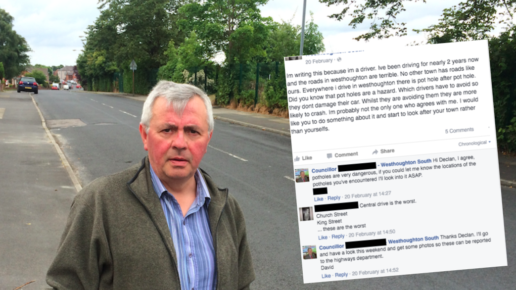 Councillor David Wilkinson wins repairs to Central Drive but Facebook shows how Labour were made aware of the problem back in February but failed to act
