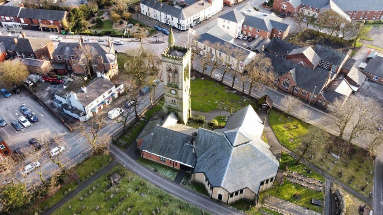 A beautiful aerial photo of St Bartholomew's Church