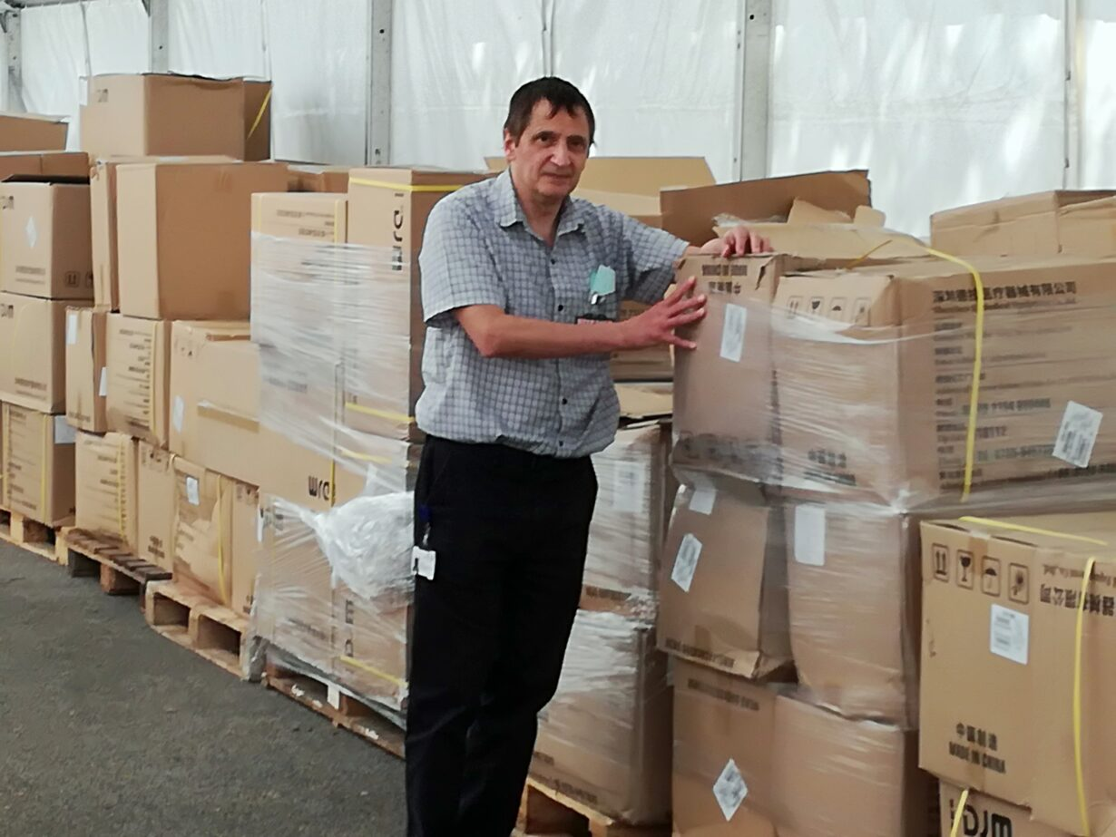 Neil Maher organising PPE to be sent out to NHS staff