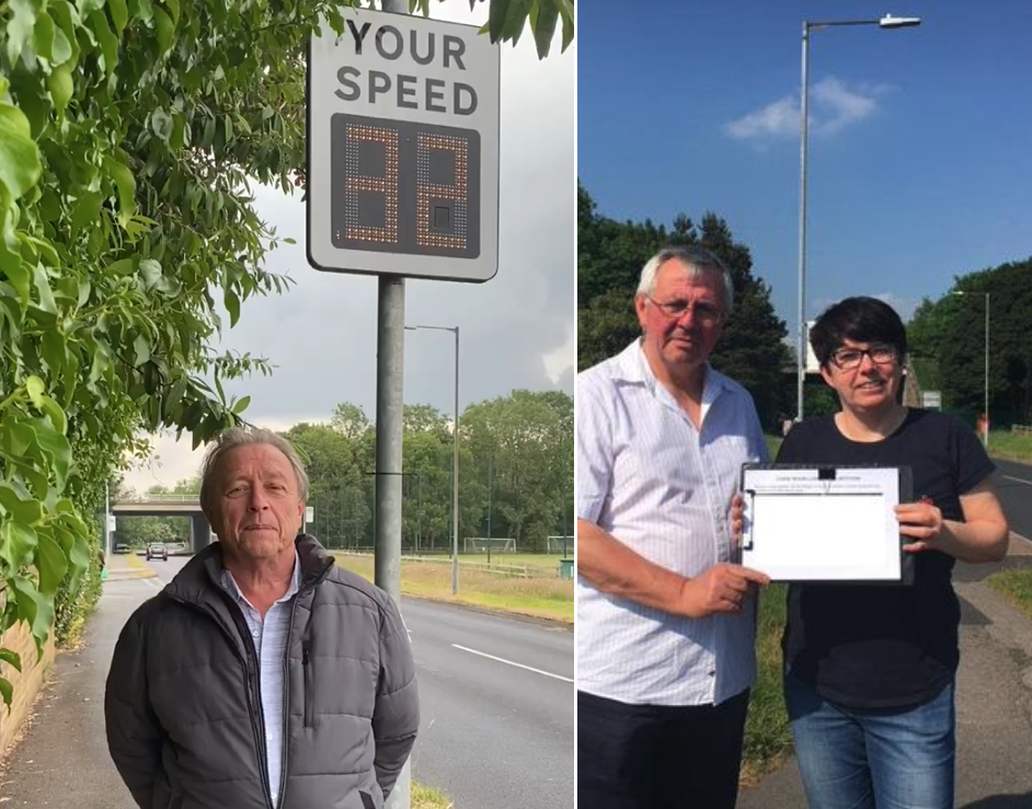 Arthur Price (left) and David Wilkinson and Bernadette Eckersley-Fallon with a speeding petition